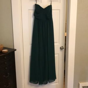 Strapless Georgette Gown in Hunter - worn once!